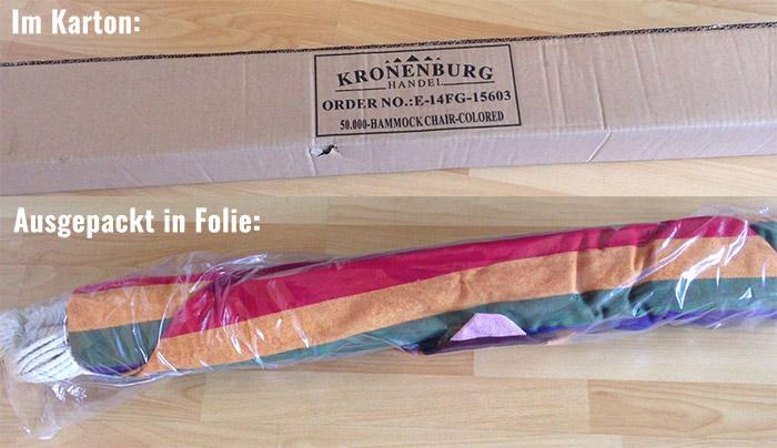 Kronenburg XL Hängesessel bunt im Karton und ausgepackt